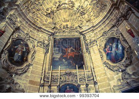 Interior Of Church St.john Baptis, Gozo - Malta