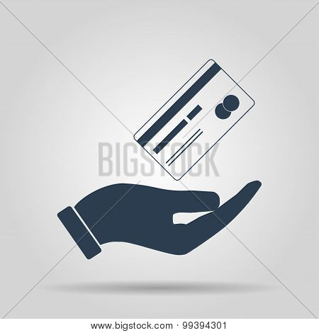 Bank credit card with hand, vector illustration. Flat design style