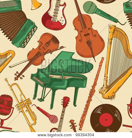 Seamless Pattern Of Colorful Musical Instruments