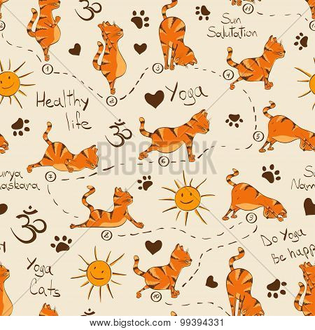 Seamless Pattern With Cat Doing Yoga Position Of Surya Namaskara.