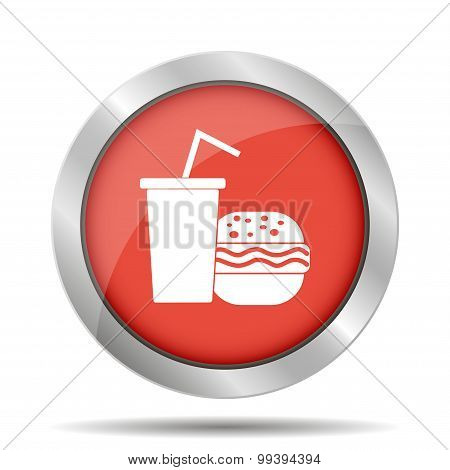 burger and paper cup with a drink. symbol of fast food