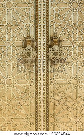 The Door Hanger Of Dar Lmakhzen Or The Royal Palace Gate In Fes, Morocco