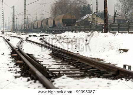 Railroad tracks in the snow
