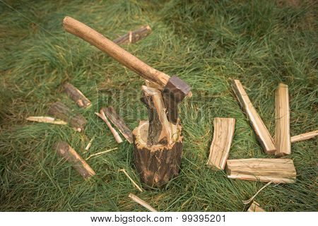 Firewood and old axe