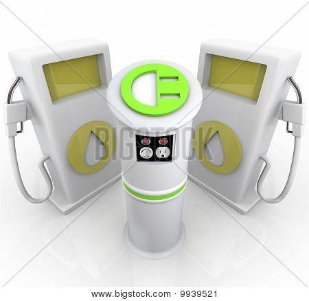 Ev - Electric Vehicle Charging Station Vs Gas Pumps
