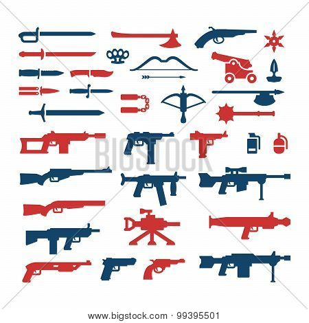 Set Color Icons Of Weapons