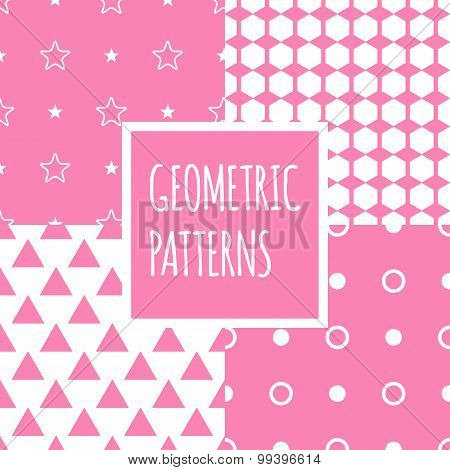 Vector geometric pink seamless patterns set. Baby shower girl backgrounds