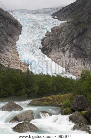 Cascading Stream At Briksdal Glacier