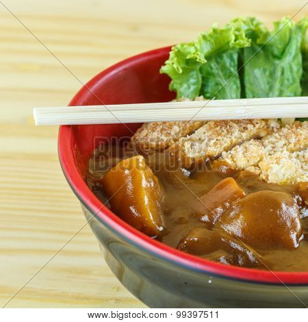 Traditional Japanese Food, Pork Cutlet With Curry (katsu Curry Rice)