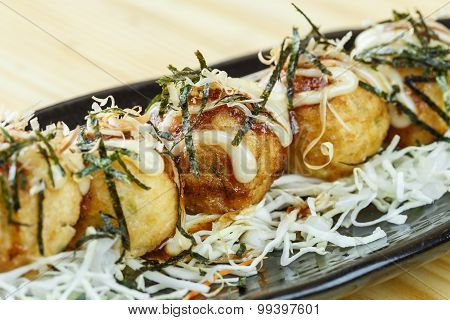 Traditional Japanese Food, Deep Fried Octopus Ball Or Takoyaki