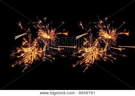 yellow and red sparkling fireworks