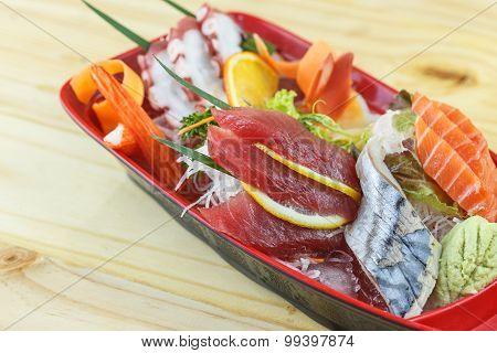 Traditional Japanese Food, Mix Fresh Fish Sashimi