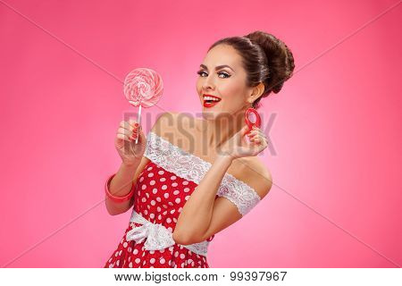 Happy Woman Holding red Lollipop. Pin-up retro style.
