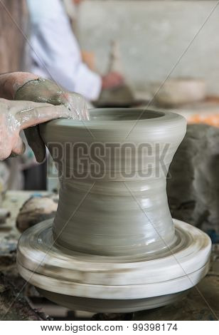 The Artist Mold The Pottery On The Circulated Plate