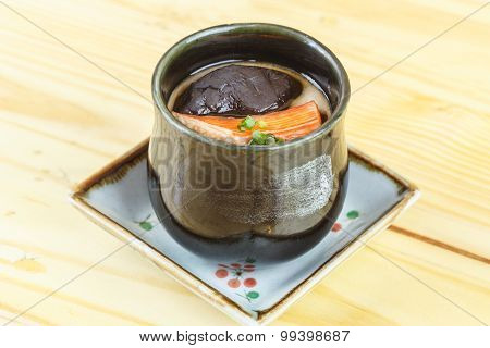 Traditional Japanese Food, Miso Soup With Shiitake Mushrooms