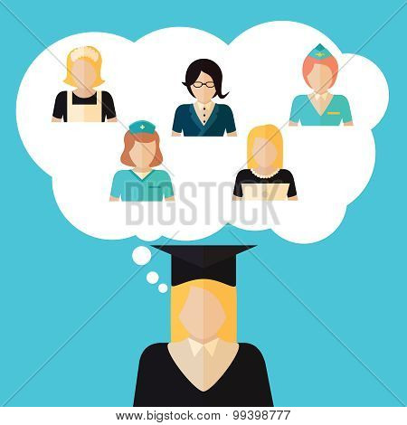 Education Choice Illustration With Girl