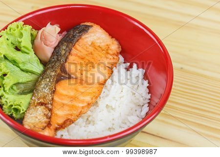 Traditional Japanese Food,  Snow Fish Grilled Or Gindara Teriyaki With Rice