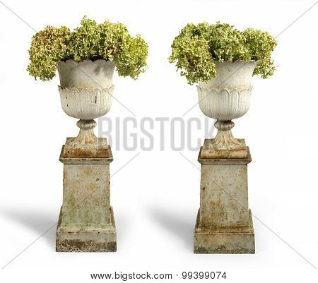 Old Antique Cast Iron Painted Garden Urns On Plinths Isolated On White