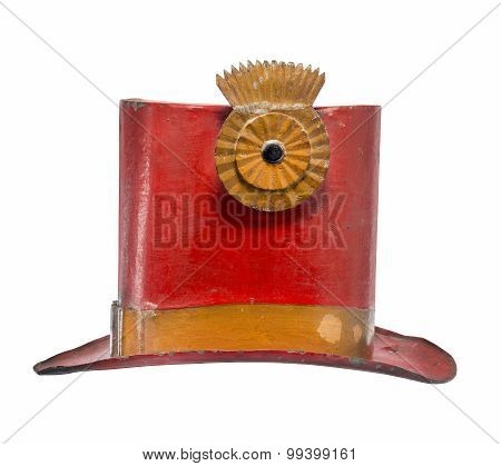 Old Top Hat Metal Painted Red Isolated