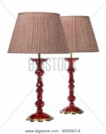 Pair Table Lamps Old Antiques Red