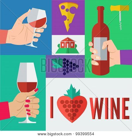 Wine in Flat Design Style