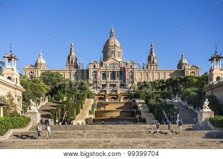 Barcelona, Spain - August 19, 2015: Catalonian national museum MNAC on Montjuic mountain in Barcelon
