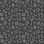 Vector hand drawn study accessories seamless pattern. Cute back to school black and white background poster