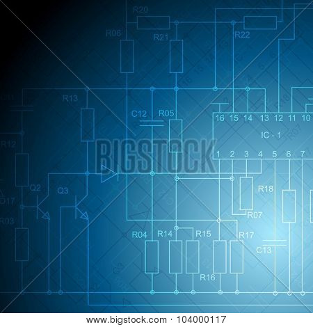 Abstract electrical scheme tech background