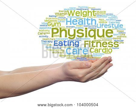 Concept or conceptual abstract health, nutrition or diet word cloud in human man hand isolated on white background