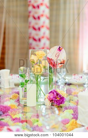 Beautiful flower composition on the table