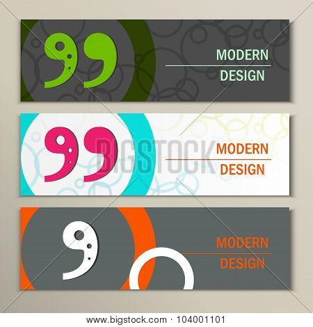 Set of 3 banners with quote text bubble