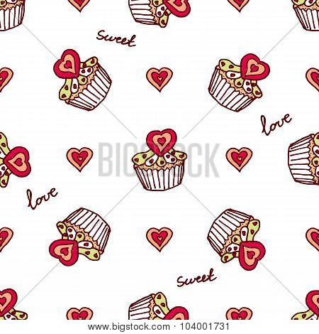 Seamless pattern with doodle heart shaped cookies and cupcakes