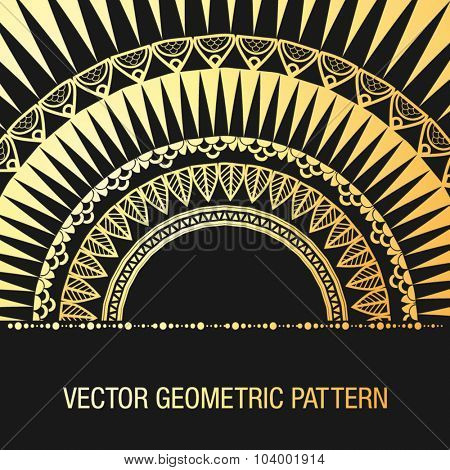 Geometric gold mandala element made in vector. Vintage decorative elements. Islam, Arabic, Indian, Tribal motifs.