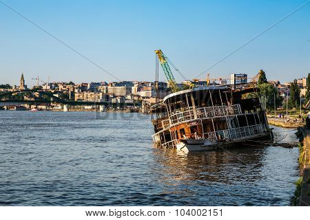 Boat Sank On The River Sava