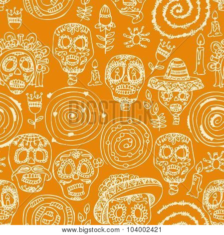 Seamless pattern. Dia de los muertos Text in Spanish.