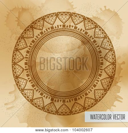 Geometric mandala element made in vector. Vintage decorative elements. Watercolor background. Islam, Arabic, Indian, Tribal motifs.