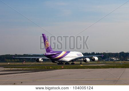 Thai Airways A380 At The Frankfurt Airport
