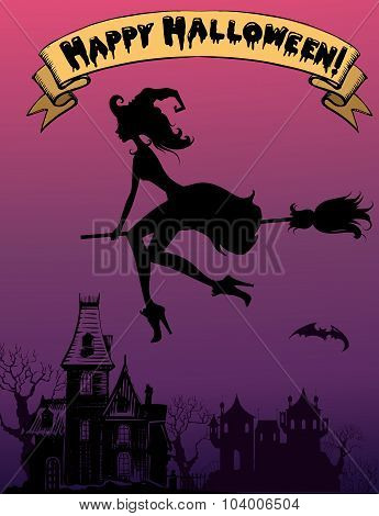 Flying Beautiful Witch