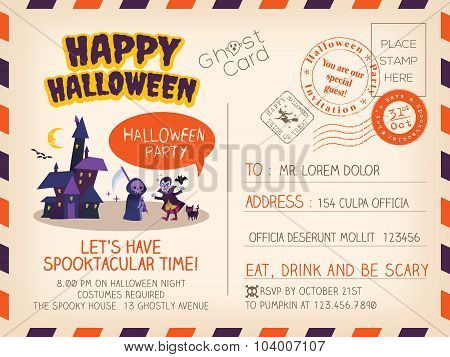 Happy Halloween Vintage Postcard Invitation Background Design Layout