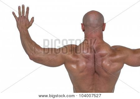 Rear view of bodybuilder with arms outstretched against white background