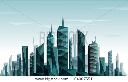 Geometrical abstract city skyline made with triangle