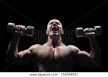 Aggressive bodybuilder lifting bumbbells against black background