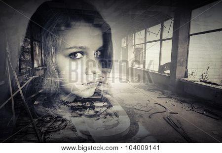 Conceptual Photo With Teenage Girl Portrait