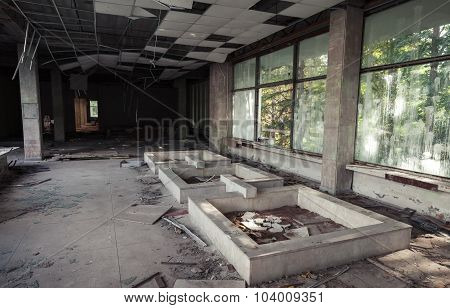 Abandoned Building Interior. Old Corridor View