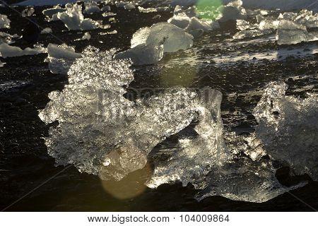 Ice Blocks At Glacier Lagoon Jokulsarlon, Iceland In Evening Light