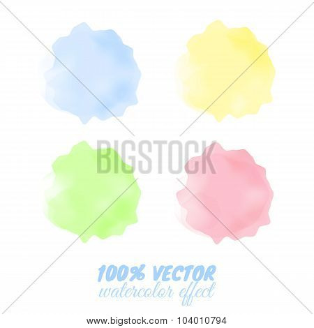 Colorful Transparent Spots With Watercolor Effect.