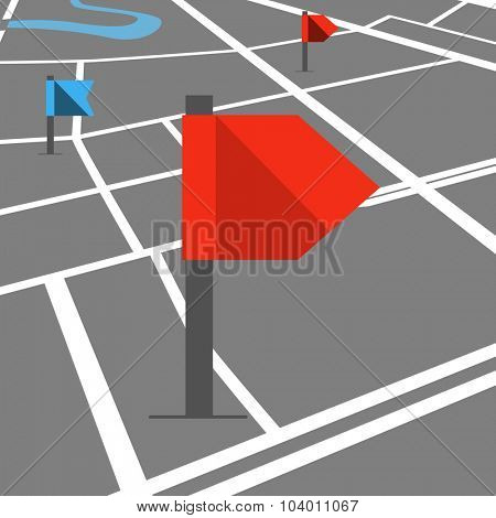 Abstract city map in perspective