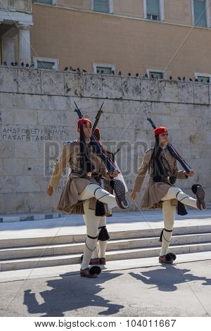 ATHENS, GREECE - CIRCA OCTOBER 2015: Greek soldiers Evzones dressed in full dress uniform, refers to the members of the Presidential Guard, an elite ceremonial unit, active from 1833 to present.