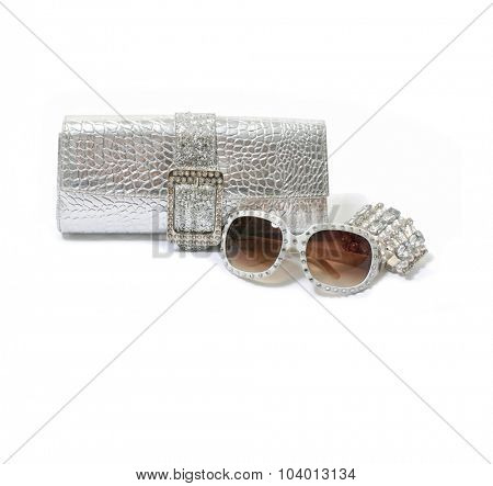 Fashion female accessories on white background