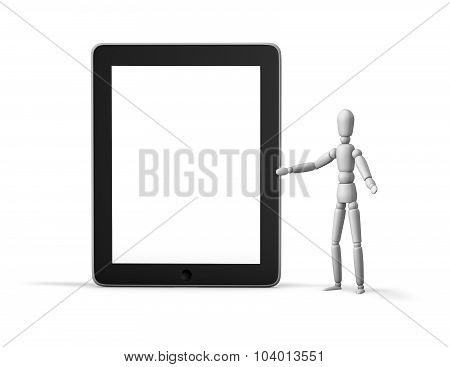 3D Marionette Showing Mobile Device.